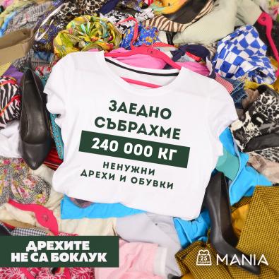 До средата на 2021 заедно събрахме 240 000 кг ненужни дрехи, обувки и текстил в кампанията Дрехите не са боклук!